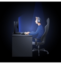 Guy playing the computer vector