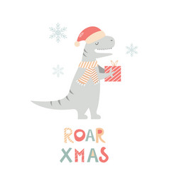 hand drawn christmas t rex with gift holiday card vector image