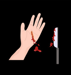 Hand knife accident vector