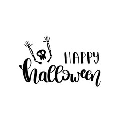 happy halloween card with lettering text vector image
