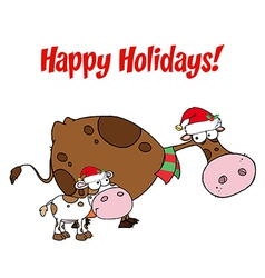 Happy Holidays Greeting Over Christmas Cows vector
