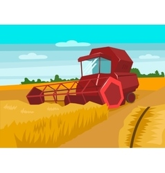 Harvester gather wheat cartoon vector image