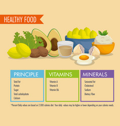 Healthy food with nutritional facts vector