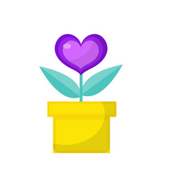 heart flower pot icon flat design isolated on vector image