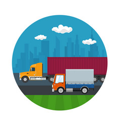 Icon with truck and small covered truck vector