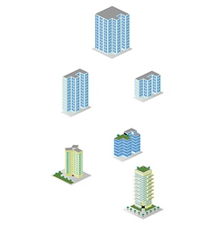 Isometric City Apartment Buildings Pack vector