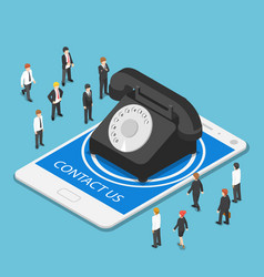 isometric classic telephone on tablet pc vector image
