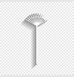Lawn rake sign white icon with soft vector