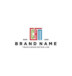 Letter chm square colorful logo design vector