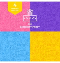 Line Birthday Party Patterns vector image