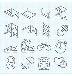 Linear sport icons vector