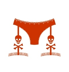 Lingerie with cross bones icon simple style vector