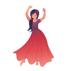 Little gypsy girl with flower in her hair dancing vector