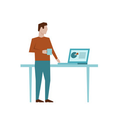 man standing at his workplace and drink coffee or vector image