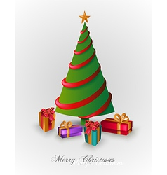 Merry Christmas tree with presents EPS10 file vector image
