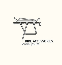Modern linear style bicycle accessories logotype vector