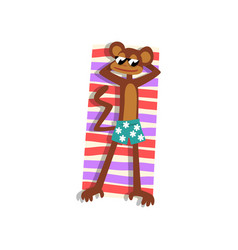 monkey in sunglasses sunbathing on the beach cute vector image