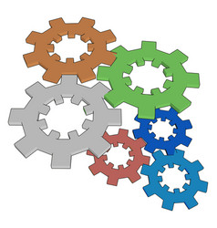 multicolor gears on white background vector image
