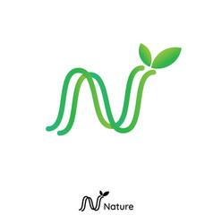 N letter logo initial line nature leaf logo green vector