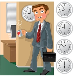 Office worker with cup of tea or coffee vector