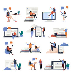 Online education flat icons vector