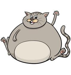 Overweight cat cartoon animal character vector