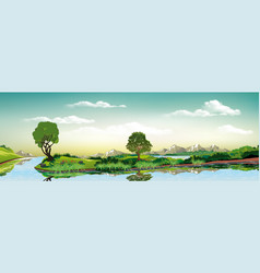 Panoramic landscape - metropolis lake river the vector