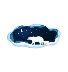 paper with polar bears going at night vector image