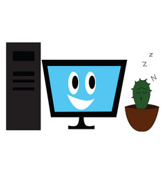 pc with smiling monitor and sleeping cactus on vector image