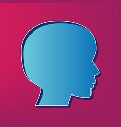 People head sign blue 3d printed icon on vector