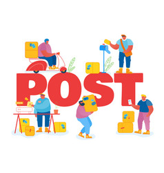 people in post office concept postmen deliver vector image
