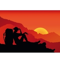 Person silhouette on the rock vector image