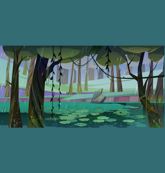 Rain in forest with swamp or lake and water lilies vector