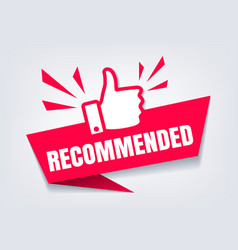 recommended with thumb up sign vector image