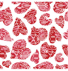 red hand drawn watercolor hearts with tribal vector image