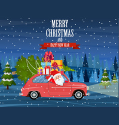 retro car with christmas tree vector image