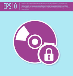 Retro purple cd or dvd disk with closed padlock vector