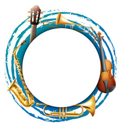 Round frame with musical instruments vector