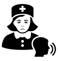Sad psychotherapist nurse talking black icon vector