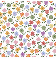 seamless flowers pattern background vector image