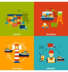 Seaport Flat Set vector