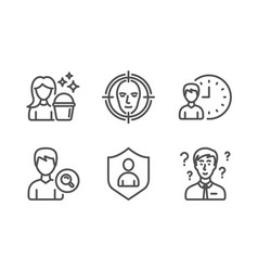 Search people face detect and working hours icons vector