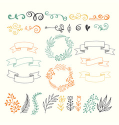 set of design elements floral hand drawn vector image