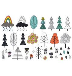 set of isolated tree and elements in scandinavian vector image