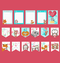 Set of love cards with cute animals vector