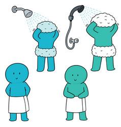 set of men showering vector image