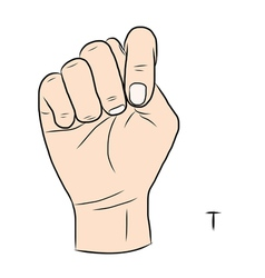 Sign language and the alphabetThe Letter t vector