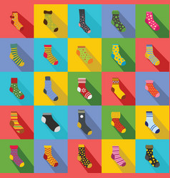 Socks textile icons set flat style vector