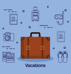 Suitcase and accessories travel vacations concept vector