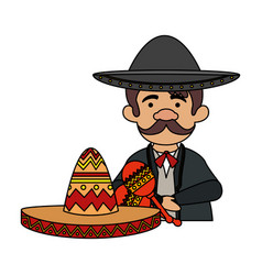 Traditional mexican mariachi with maracas vector